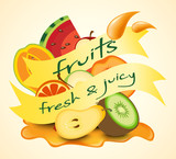 Fresh fruits with labels on yellow background