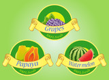 Fruits labels isolated on green background