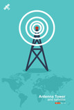 antenna tower and satellite, global communication concept, Vector eps 10