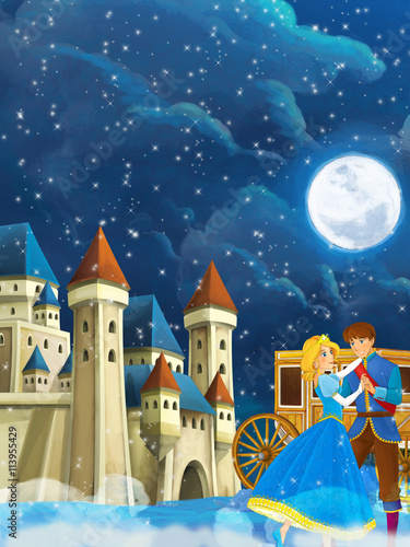 fototapeta na ścianę Cartoon scene with prince and princess - beautiful castle and carriage in the background - illustration for children