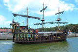 Pirate ship in the port.