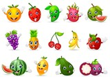 Funny various cartoon fruits - 113960216