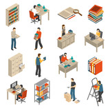 Documents Archive Library Isometric Icons Set