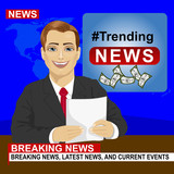 Young news anchor man reporting breaking news sitting in studio