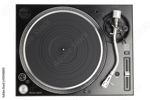 Poster professional dj turntable isolated on white, top view