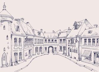 City street, retro style buildings sketch, urban background