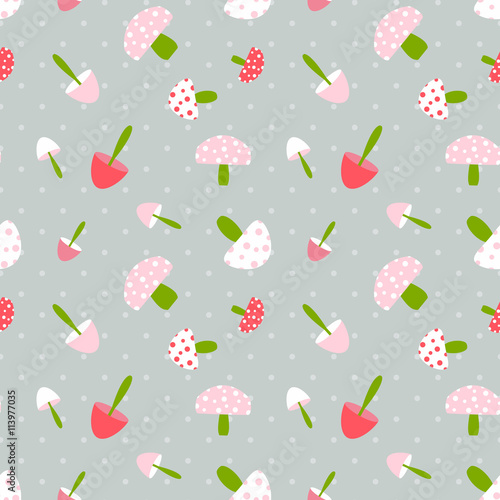Cotton fabric Mushroom seamless pattern with polka dot