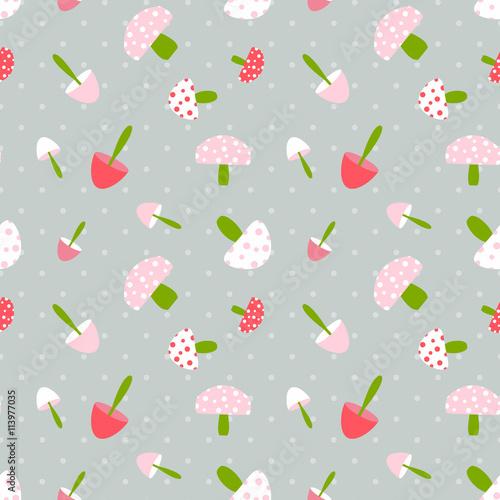 Cotton fabric Mushroom seamless pattern with polka dot