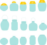 Jars set, jar with bow, silhouettes, vector illustration