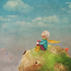The Little Prince with a rose on a planet in beautiful sky ,illustration art