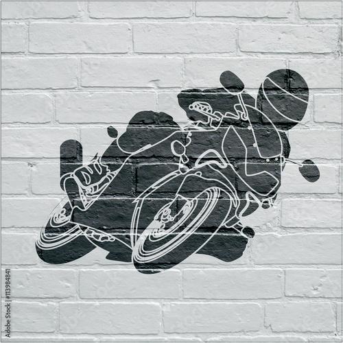 Fototapeta Art urbain, moto