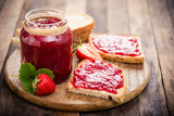 Strawberry jam on the bread