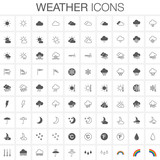 Weather icons set. Full and outline versions.  - 113995818