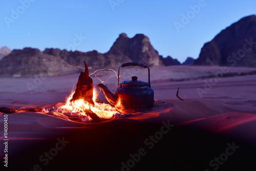 Tea party in desert, Wadi Rum Poster
