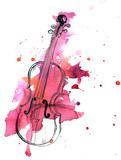 Fototapety Pen and ink drawing of vintage violin with watercolor stain