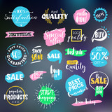 Set of signs for sale, shopping, e-commerce and products promotion