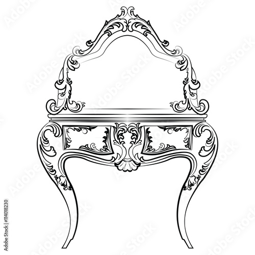 Naklejka Dressing table with mirror in classic baroque style with luxurious ornaments. Vector sketch