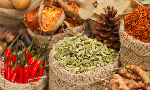 fototapeta na ścianę Spices and herbs on white background for decorate spices content