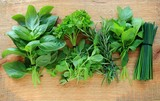 Fresh herbs on wooden background, view from above - 114035033