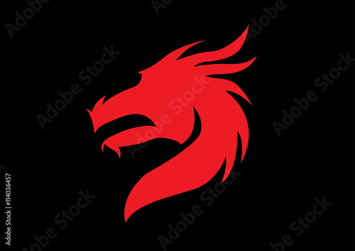 Head of the dragon vector in red on black background.