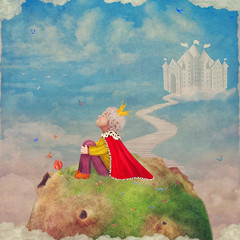 The Little Prince on a planet in beautiful sky ,illustration art