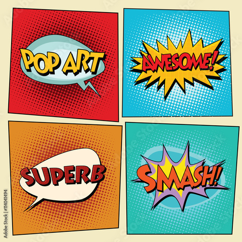 Set of retro comic bubbles pop art phrases