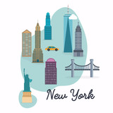 New York City. Travel map and vector landscape of buildings and - 114051041