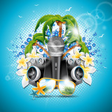 Vector Summer Holiday illustration on a Music and Party theme with speakers and sunglasses on blue background.