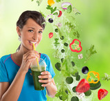 Woman drinking vegetable smoothies.