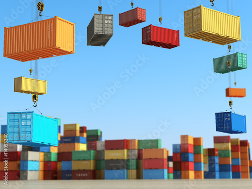 Cargo containers in storage area with forklifts. Delivery  or sh