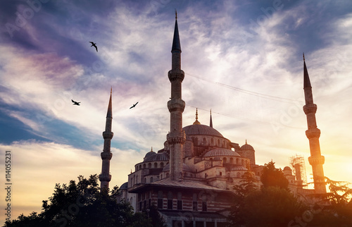 Poster, Tablou Blue mosque in Istanbul at sunset
