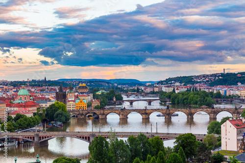 Foto op Canvas View of Bridges on Vltava, Prague at dusk, Czech Republic