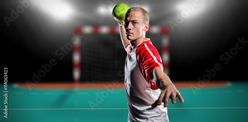 Composite image of sportsman throwing a ball Poster