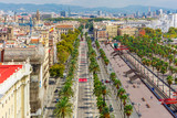 Aerial view over Passeig de Colom or Columbus avenue from Christopher Columbus monument in Barcelona, Catalonia, Spain