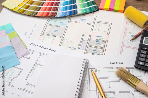 Fototapeta Color samples with house plan, calculator and pen