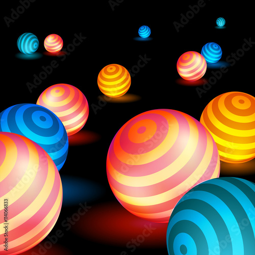 Plakat Glowing spheres lie on the surface, the neon balls, bright abstraction
