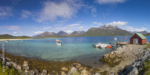 Poster Küstenlandschaft auf Hillesoya, Troms,Norwegen