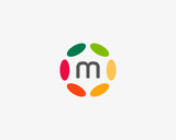 Color letter m logo icon vector design. Hub frame logotype