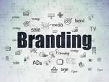 Advertising concept: Branding on Digital Data Paper background