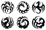 vector illustration, set of round tribal dragon tattoo designs, black and white graphics