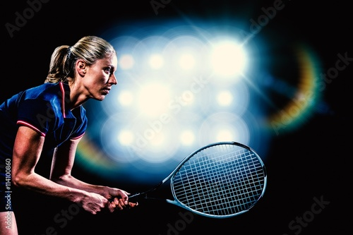 Plagát, Obraz Composite image of tennis player playing tennis with a racket
