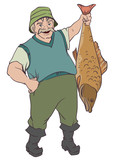 Fisherman holding big fish by tail