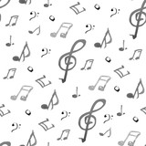 artistic background music notes drawn watercolor black and white