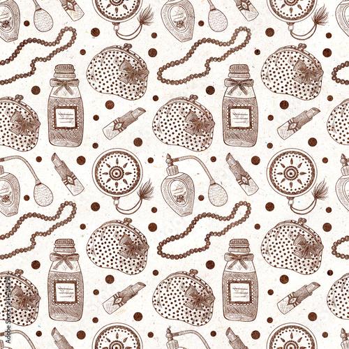 Materiał do szycia Vintage cosmetics. Perfume, lipstick, hand mirror, necklace, purse. Seamless textured pattern