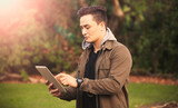 Tablet using in outdoor setting.