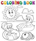 Coloring book children in swim rings 1