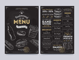 Restaurant cafe menu template design on chalkboard background vector illustration