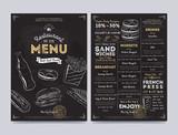 Restaurant cafe menu template design on chalkboard background vector illustration - 114123039