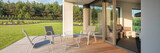 Modern patio with garden view - 114123050