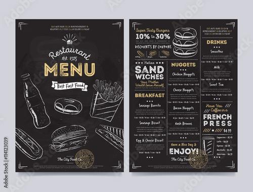 Fototapeta Restaurant cafe menu template design on chalkboard background vector illustration